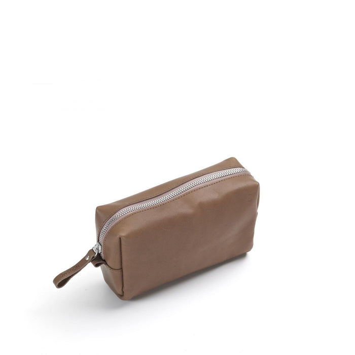 Qwstion Amenity Pouch V1 Singapore - Toiletry Pouch Brown Leather Canvas - the-Expedition.com