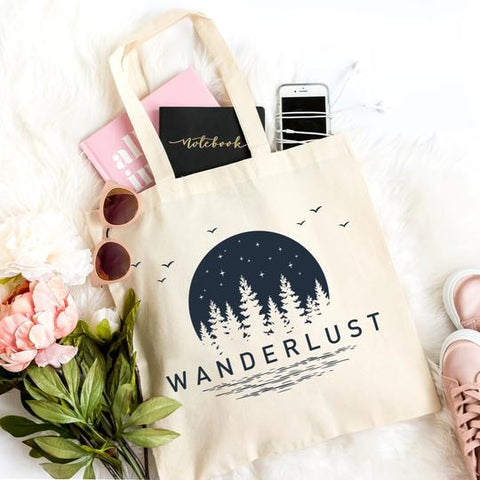 wanderlust beach tote carry bag canvas