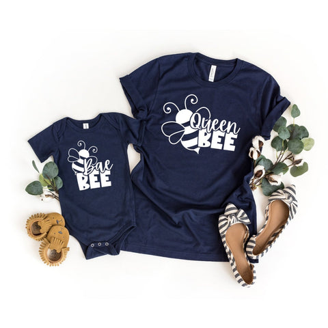 Bae Bee and Queen Bee Matching Mommy and Me Shirts - HoMade Studio