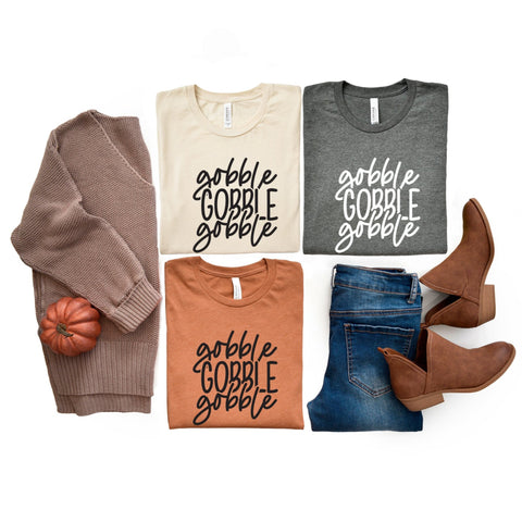 Gobble Gobble Gobble Thanksgiving T-Shirt - HoMade Studio