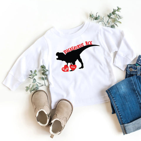 Hugasaurus Rex Valentine's Day Kids Long Sleeve T-Shirt - HoMade Studio