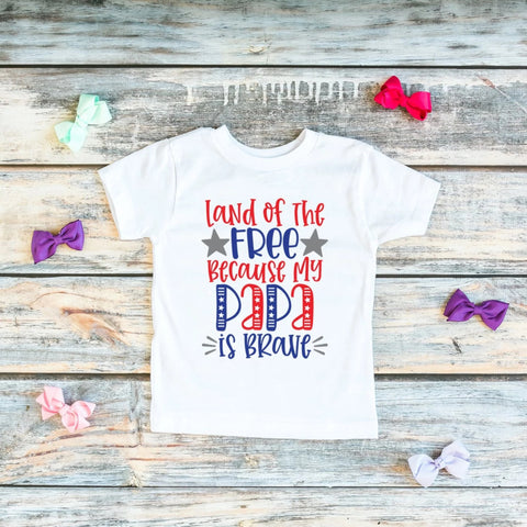 Land of the Free Because My Papa Is Brave Kids Veteran's Day Tee - HoMade Studio