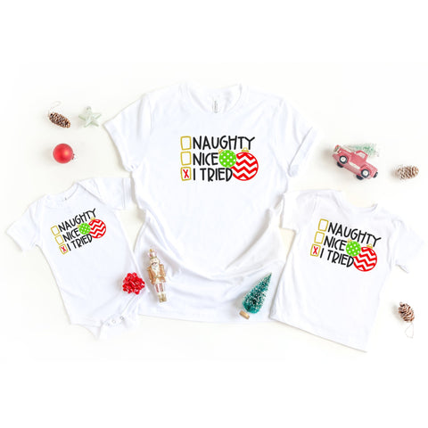 Naughty, Nice, I Tried Family Matching Shirts - HoMade Studio