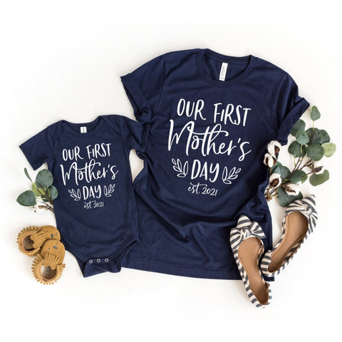 Our First Mother's Day Matching Shirt Set, Mommy and Me Outfit - HoMade Studio