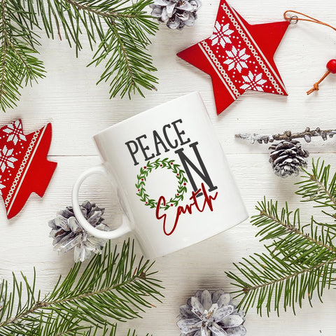 Peace On Earth Christmas Mug - HoMade Studio
