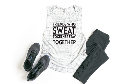 Friends Who Sweat Together Stay Together Flowy Muscle Tank - HoMade Studio