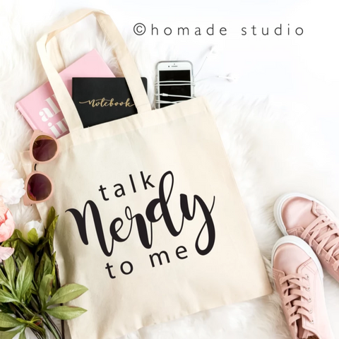 Talk Nerdy To Me Canvas Tote - HoMade Studio