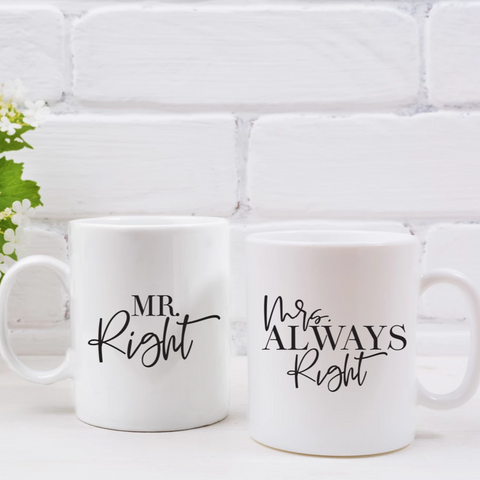 Mr. Right & Mrs. Always Right Couples Mug Set - HoMade Studio