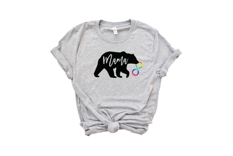 athletic heather t-shirt with mama bear and rainbow infinity symbol