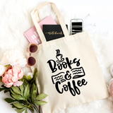 Books & Coffee Canvas Tote Bag - HoMade Studio
