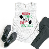 Merry Fitmas & Happy New Rear Funny Workout Tank
