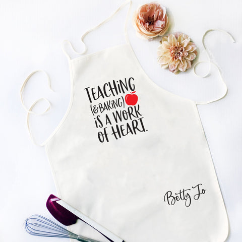Teaching (& Baking) Is A Work of Heart Kitchen Apron - HoMade Studio