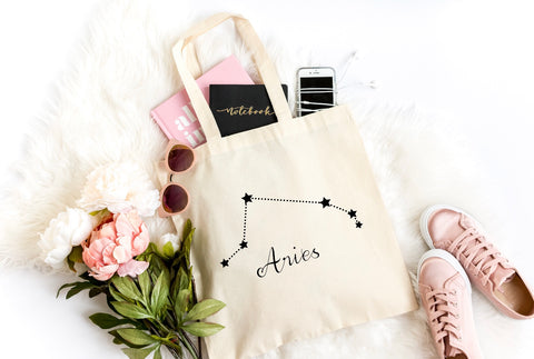 Aries Zodiac Canvas Tote Bag - HoMade Studio