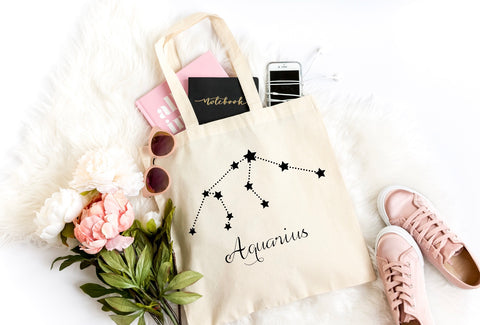 Aquarius Zodiac Canvas Tote - HoMade Studio