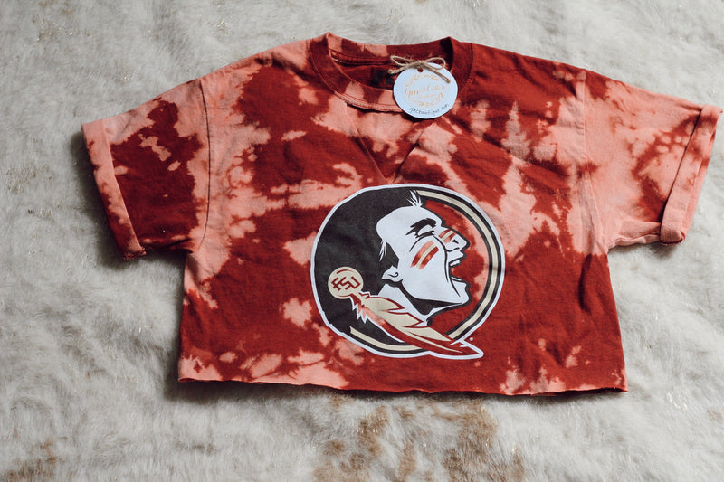 DISTRESSED CROPPED FSU TSHIRT- SIZE MEDIUM