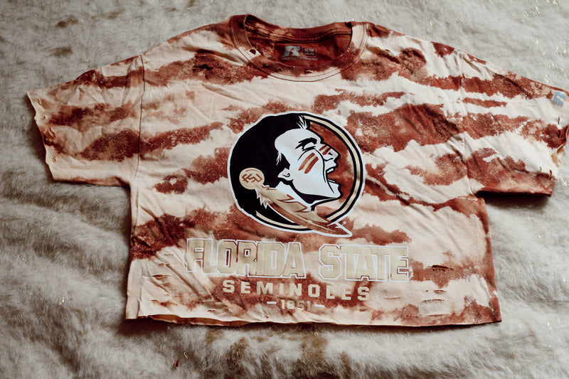 DISTRESSED CROPPED FSU SHIRT -SIZE MEDIUM