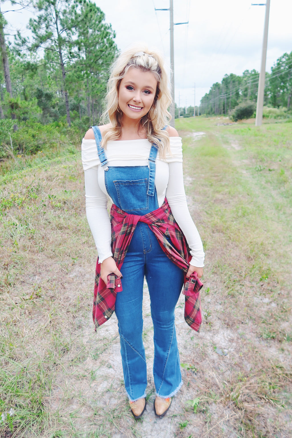Denim Flared Overalls