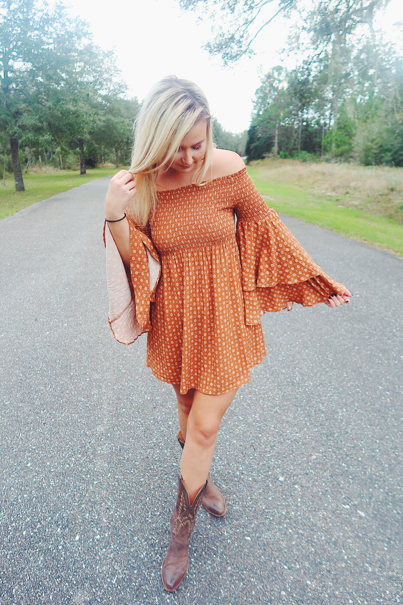 Babydoll Dress- Rust
