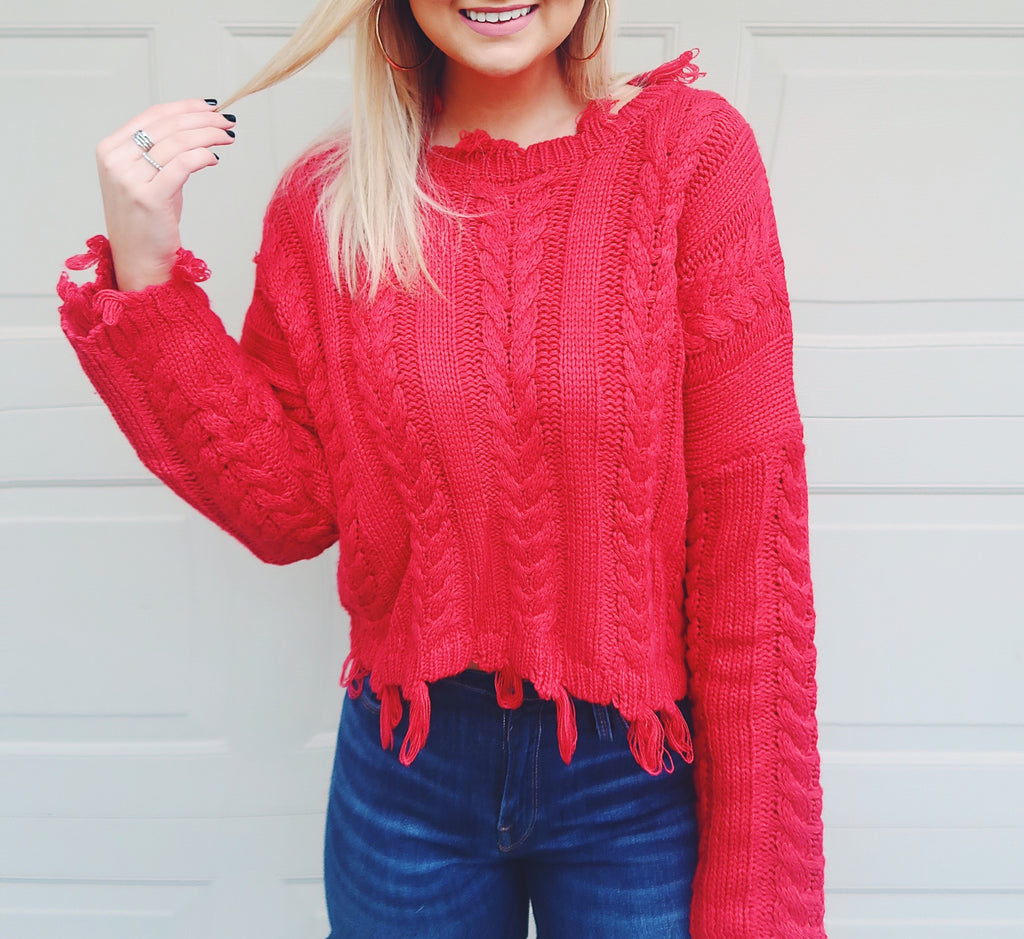 Cable Knit Fringe Sweater- Red