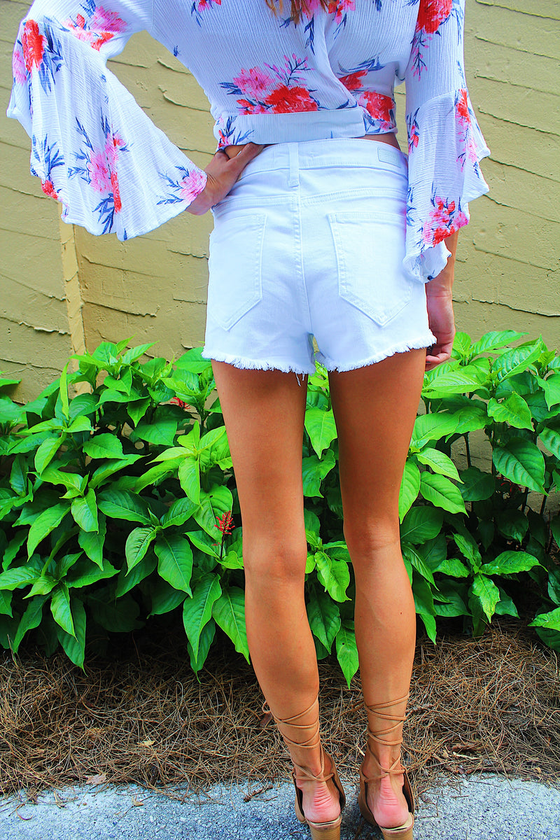 High Rise Button Up Shorts -White
