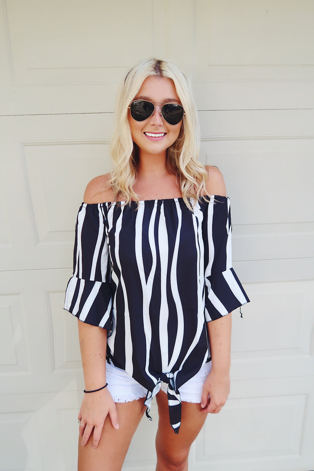 Black & White Striped Off the Shoulder Top