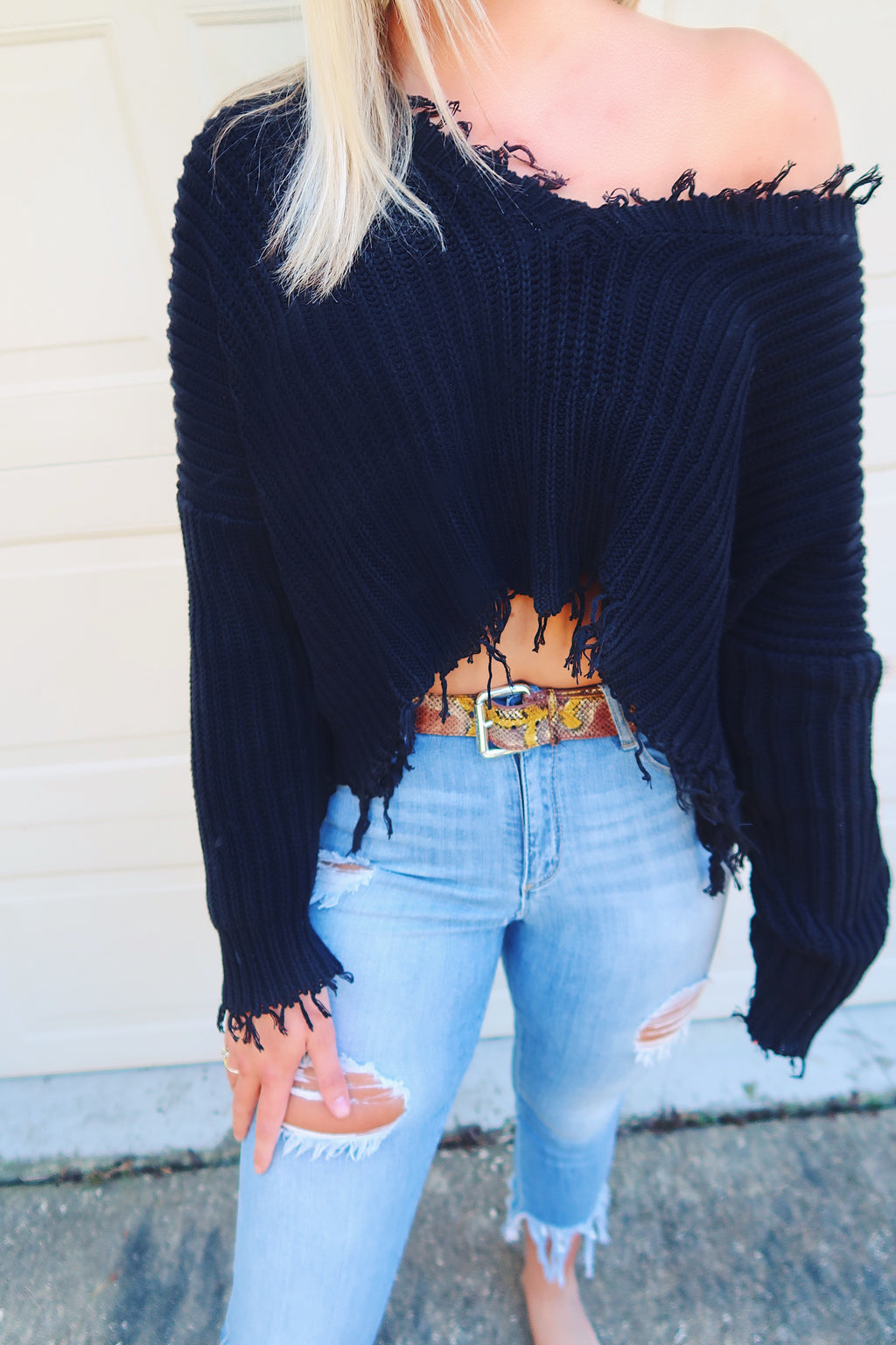 Oversized Knitted Crop Sweater-Black