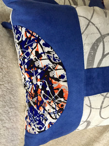 Blue Suede with Abstract Print Pillow 16""
