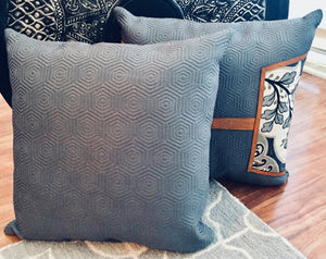 Gray and Tan Paisley Pillow 16""