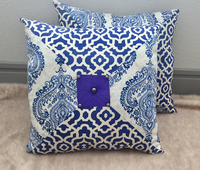 Moroccan Style - Blue Henna Print Pillow 16