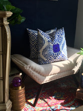 Load image into Gallery viewer, Moroccan Style - Blue Henna Print Pillow 16""