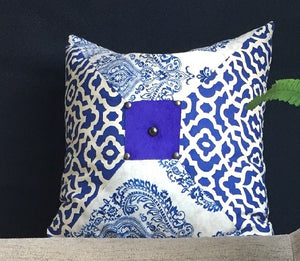 Moroccan Style - Blue Henna Print Pillow 16""