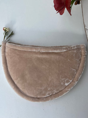 slow fashion accessory sustainable fashion ethical fashion handcrafted velvet pouch beige pouch handdyed plant dyed fashion dyed with plants madelocal shop small made in utah