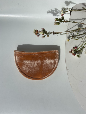 burnt orange velvet pouch slow fashion locally made amber clay pouch half moon pouch burnt orange clutch