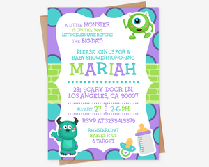 Monsters Inc Baby Shower Invitation