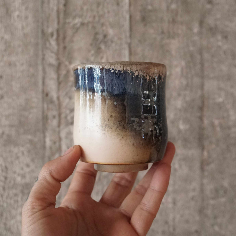 Chawan tea cup ,  blue sand glazing  #1