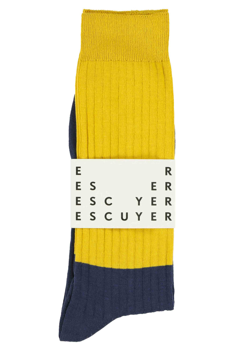 Escuyer socks -  Colour Block Inca Gold / Insigna Blue