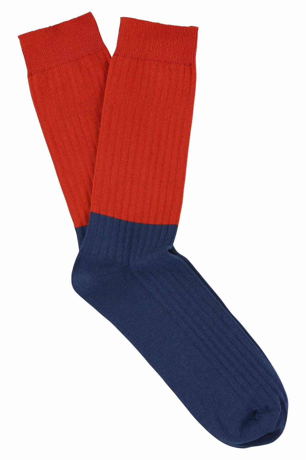 Escuyer socks -  Colour Block Pureed Pumpkin / Blue Wing Teal