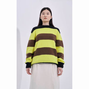 G.o.D Stripe Sweater Kid Mohair Yellow