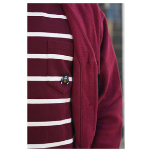 T-Pocket Dustin Recycled Jersey Bordeaux/White