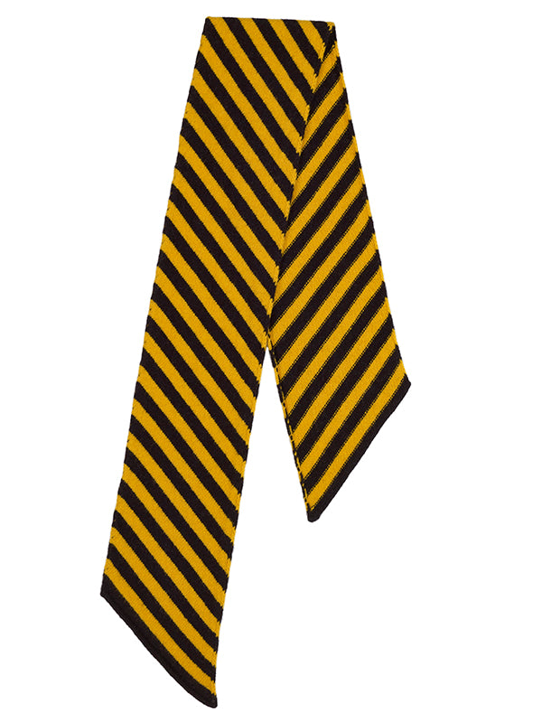 JG- Small Diagonal Stripe Scarf Black/Golden Eye