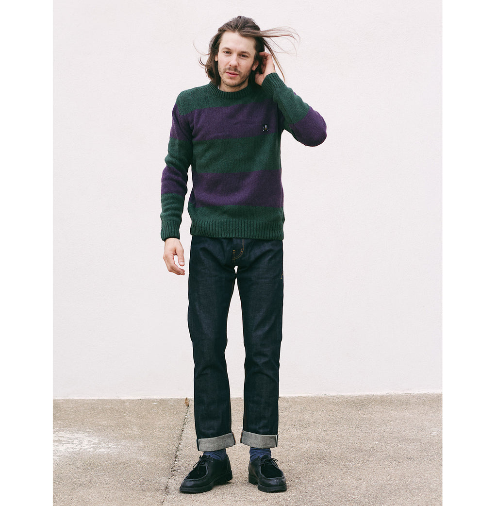 Knit Stripe Khaki/Purple