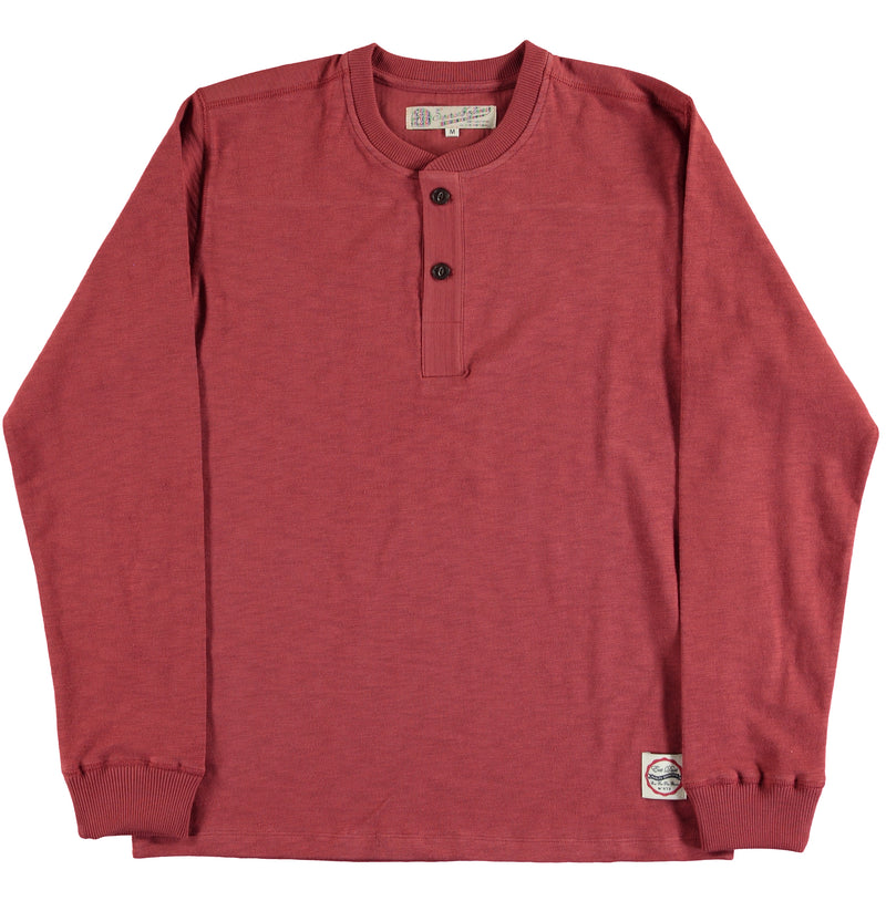 T-Henley Heavy Slub Jersey Red Orcher