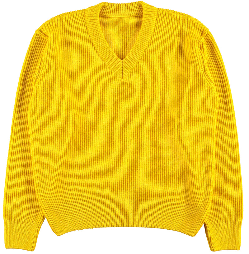 G.o.D V Neck Knitwear Lemon-front view