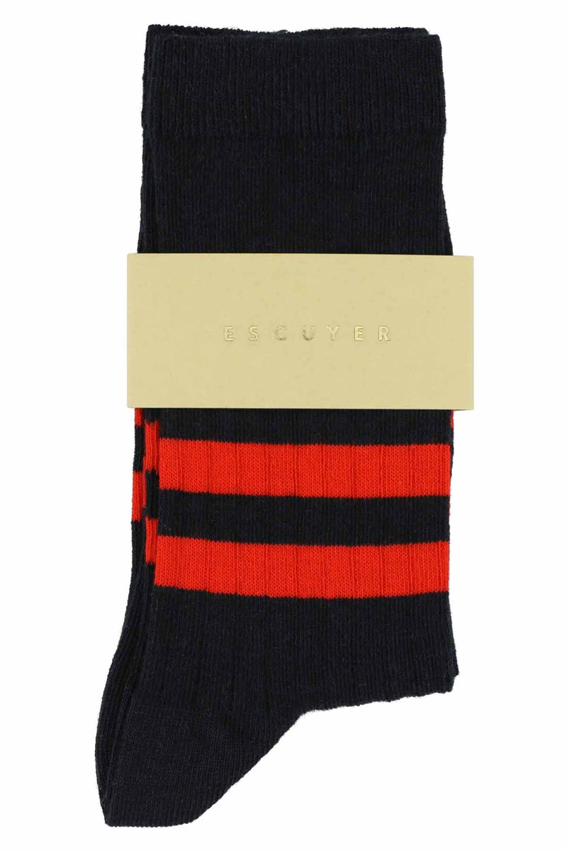 Escuyer Women's socks - Stripe Navy / Orange