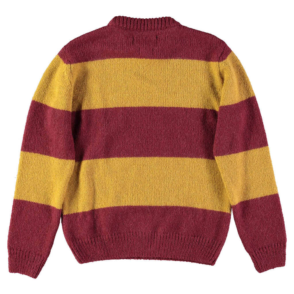 Knit Stripe Kid Mohair R-Neck sweater Bordeaux/Yellow