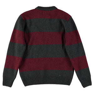 Knit Stripe Nadir R-Neck sweater Bordeaux/Green