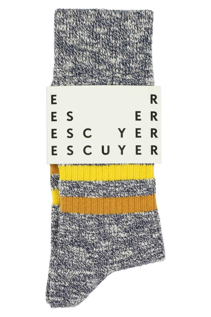 Escuyer socks - Melange stripes blue/gold/ochre