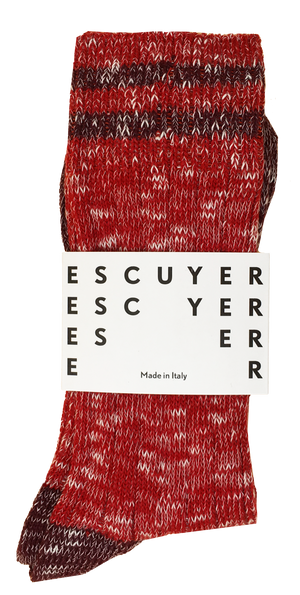 Escuyer socks - Mouline stripes - Red