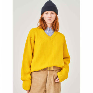 G.o.D V Neck Knitwear Lemon-fit view front