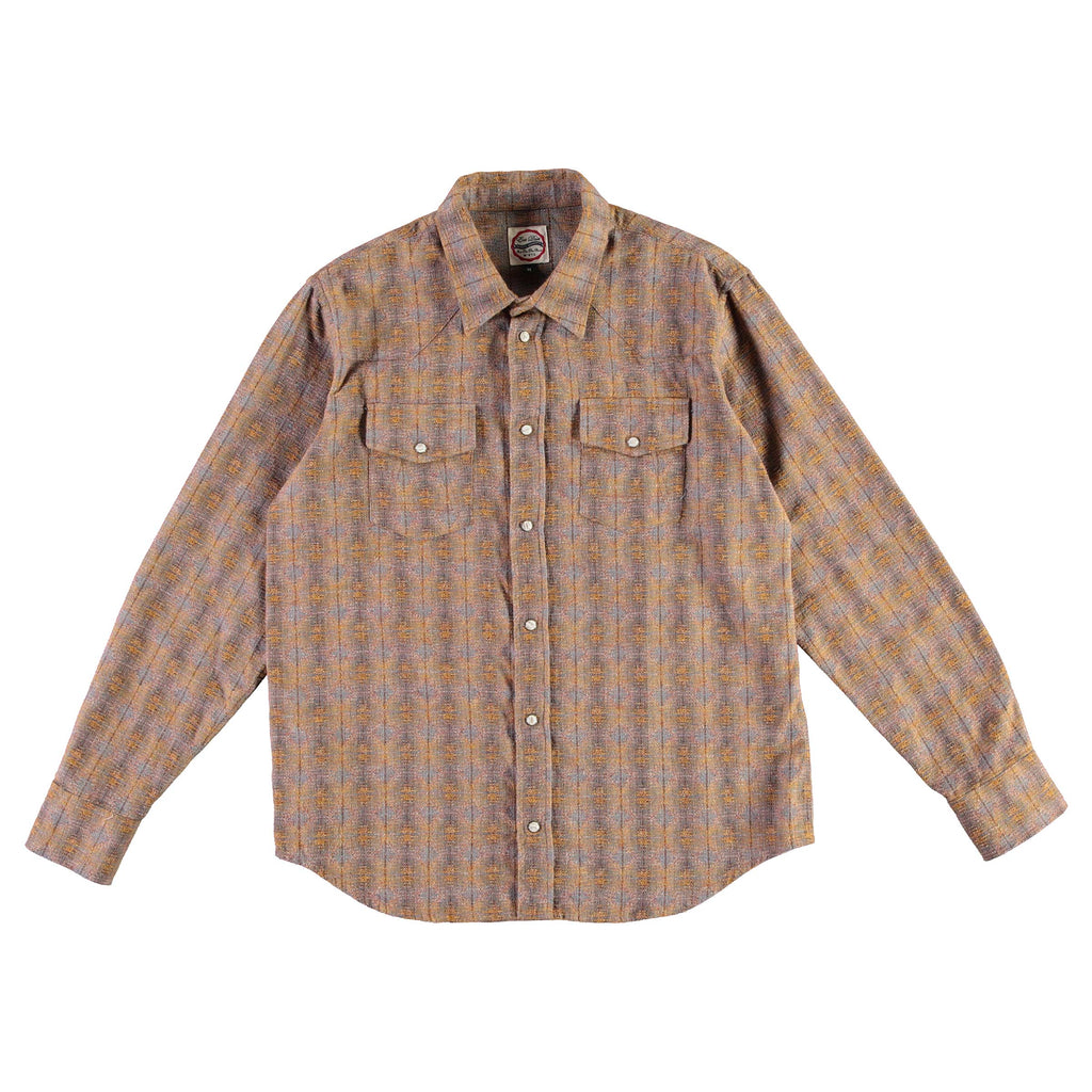 Western Shirt Poker Check Brown/Yellow